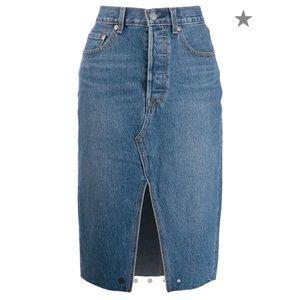 Levi's denim mid length slit skirt